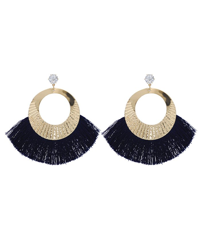 Cotton Scalloped Fringe Rhinestone Earring - Blue ONE SIZE