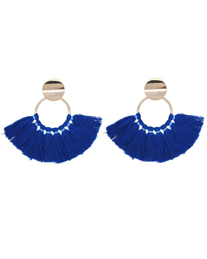 Scalloped Hand-woven Cotton Tassel Earring - Blue ONE SIZE