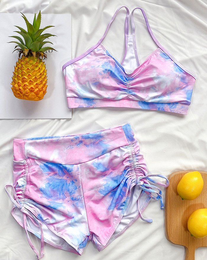 Tie-dye Pleated Shorts Suit Bikini - Pink L