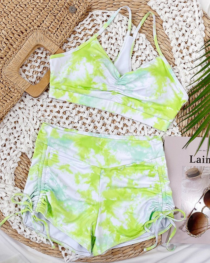 Tie-dye Pleated Shorts Suit Bikini - Sorbet Lime Green L