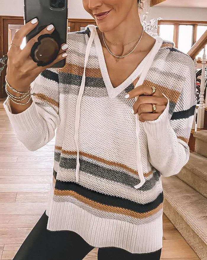 V-neck Contrast Striped Drawstring Hooded Knit Top - multicolorple Colors 2XL