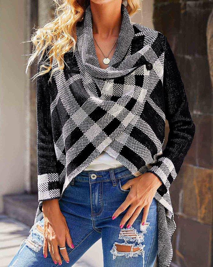 Plaid Pattern Asymmetric Hem Knit Cardigan - Black L