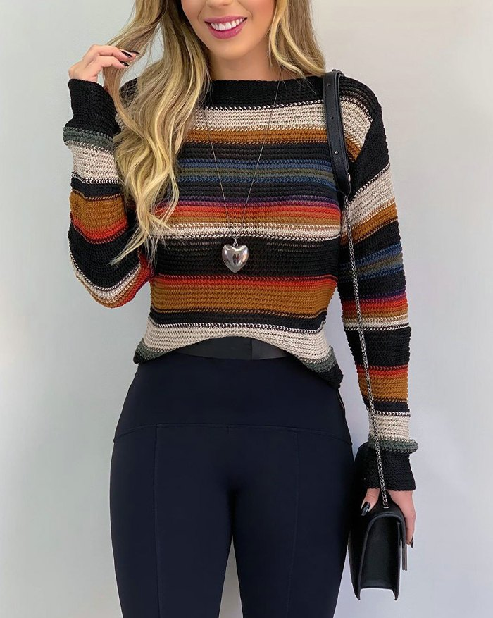 Casual Contrast Striped  Pullover Sweater - Camel XL