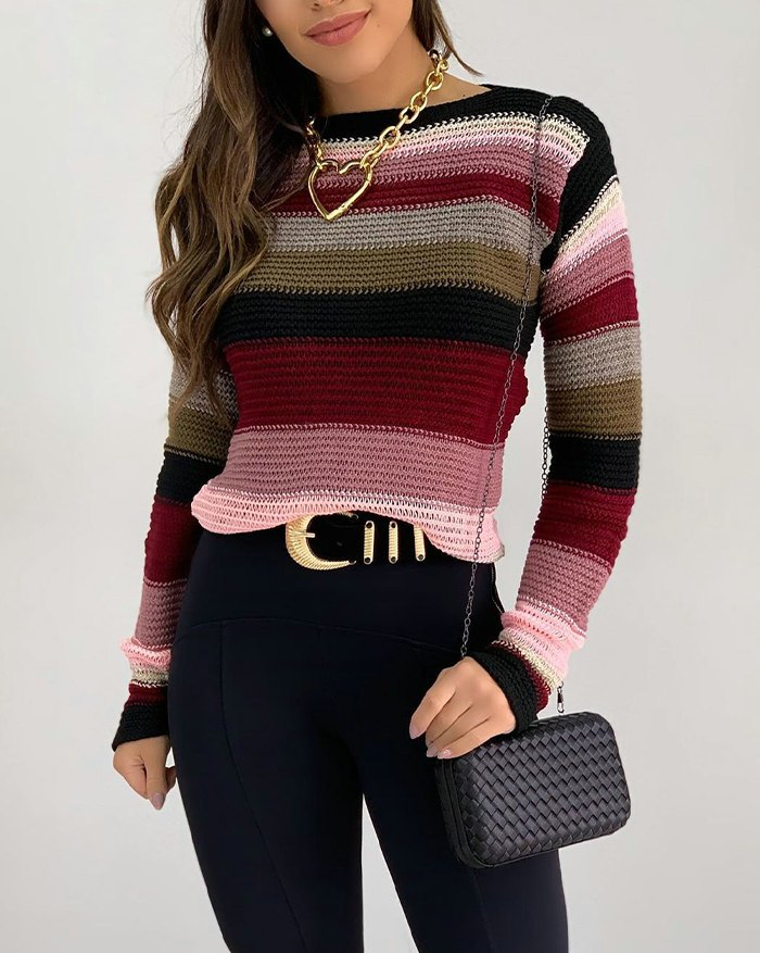 Casual Contrast Striped  Pullover Sweater - Burgundy XL