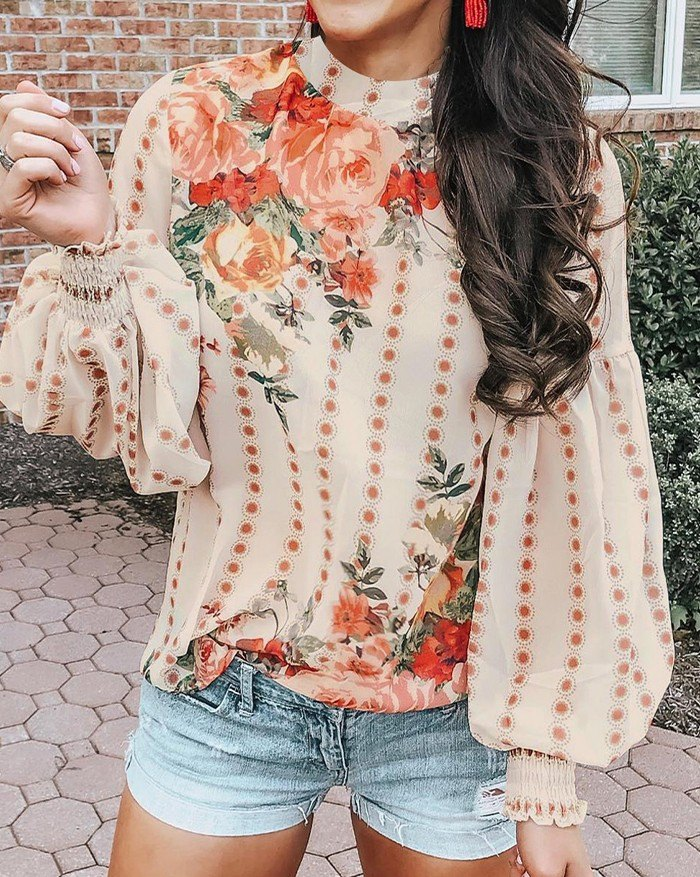 Rose Printed Balloon Sleeve Blouse - Apricot 2XL