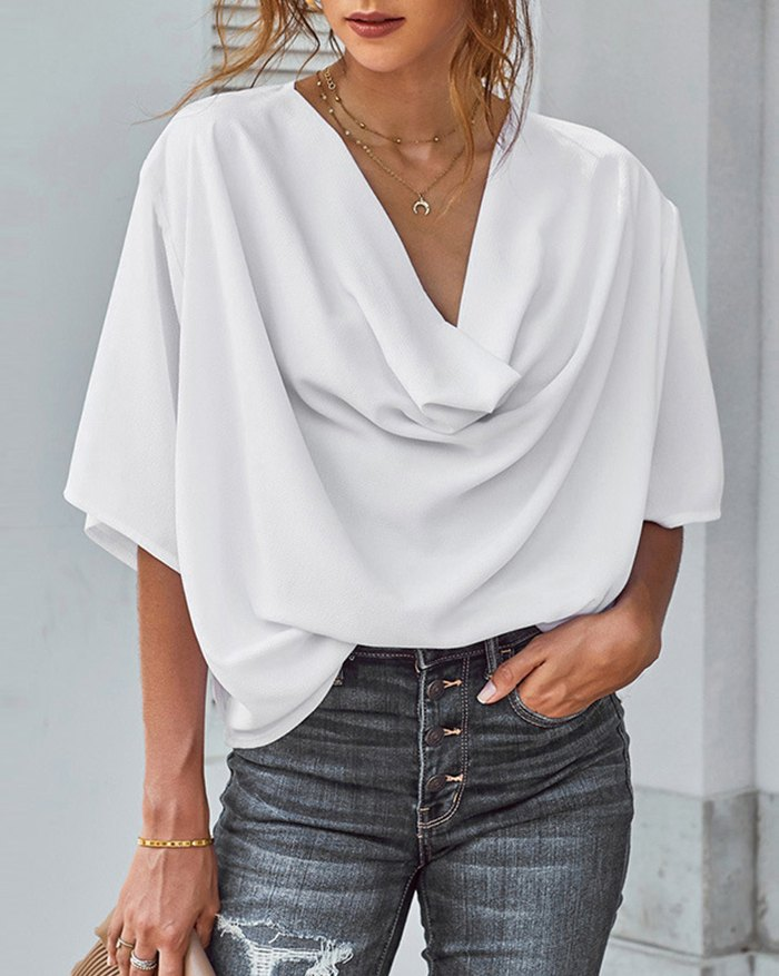 V-neck Short Sleeve Casual Pleated Shirt - White 2XL