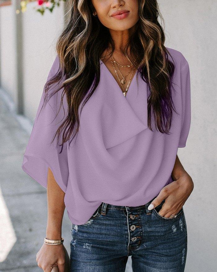 V-neck Short Sleeve Casual Pleated Shirt - Lilac 2XL