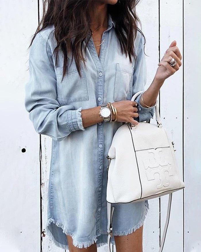 Denim Long Sleeve Shirt Dress - Blue 5XL
