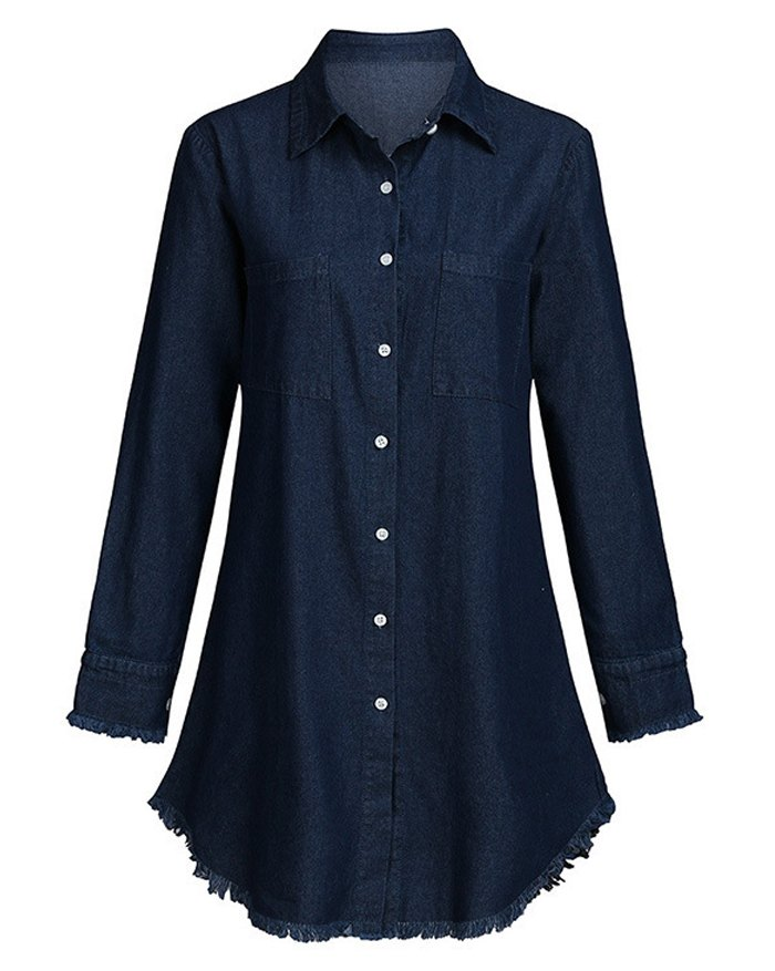 Denim Long Sleeve Shirt Dress - Royal Blue 5XL