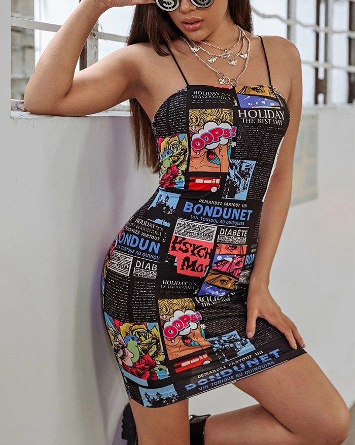 Funny Art Print Bodycon Spaghetti Strap Backless Dress - Black XL