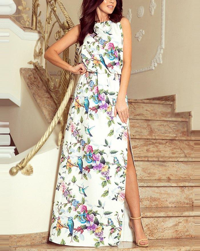Chiffon Ditsy Floral Sling Dress - White 2XL