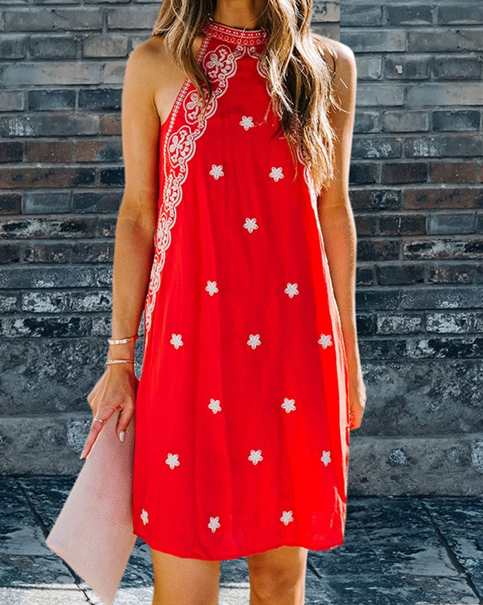 Retro Floral A-Line Dress - Red 2XL