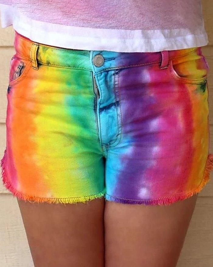 Rainbow Ombre Gradient Color Shorts - multicolorple Colors 3XL
