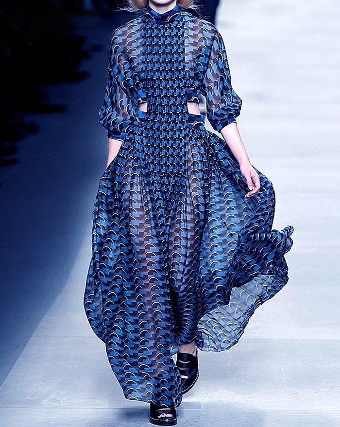 Print Stand Collar Long Sleeve High Waist Hollow Out Dress - Blue XL