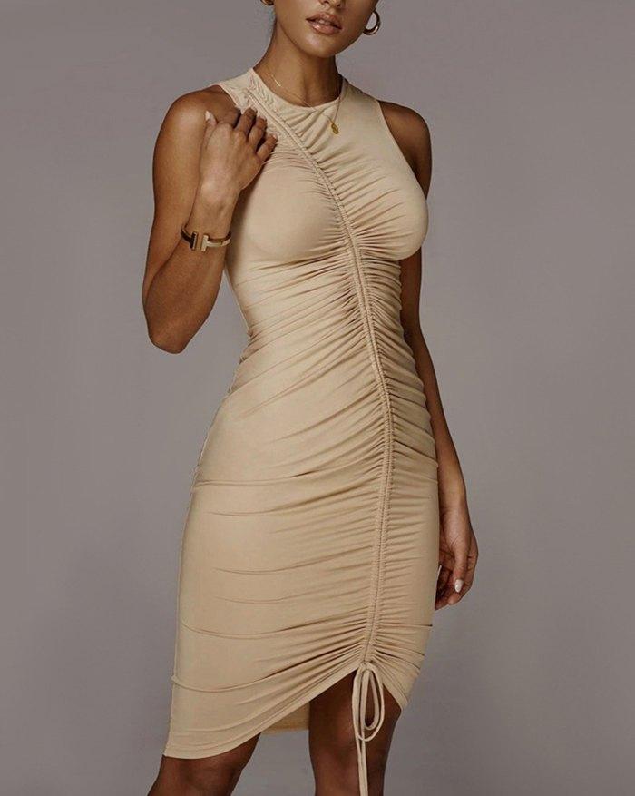 Personalized Fashion Adjustable Drawstring Sleeveless Dress - Coffee L