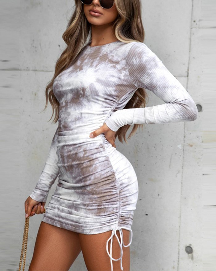 Long Sleeve Fashion Print Drawstring Dress - Coffee L