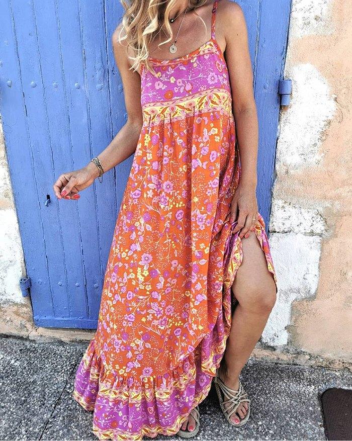 Bohemian Floral Print Suspender Long Swing Dress - Red 3XL