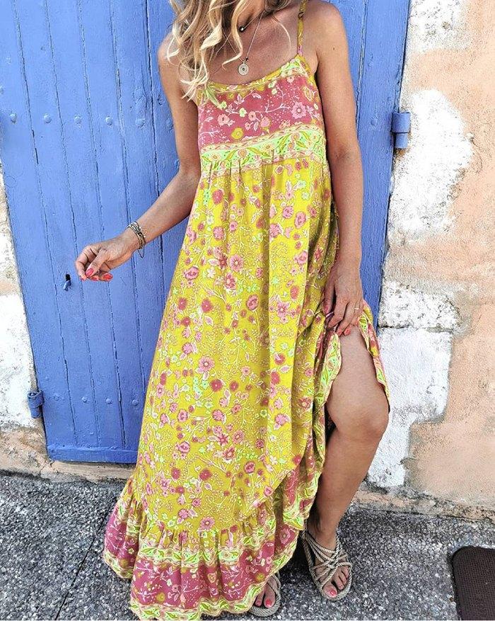 Bohemian Floral Print Suspender Long Swing Dress - Yellow 3XL