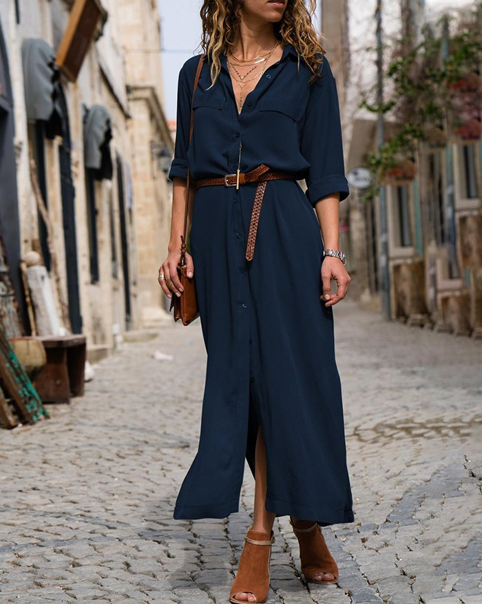 Shawl Collar Shift 3/4 Sleeve Paneled Loose Long-Sleeved Swing Dress - Blue XL