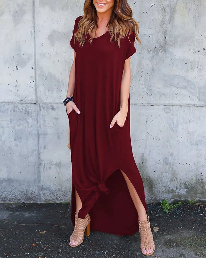 Pockets Slit V Neck A-Line Casual Maxi Dress - Red 5XL