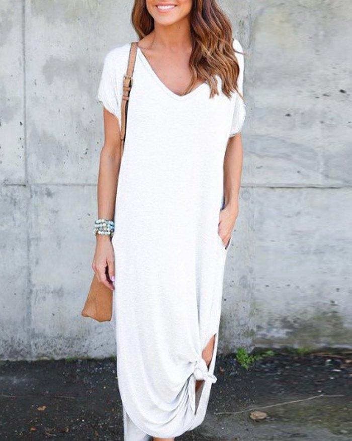 Pockets Slit V Neck A-Line Casual Maxi Dress - White 5XL