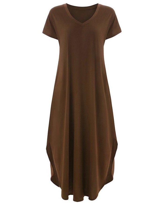 Pockets Slit V Neck A-Line Casual Maxi Dress - Brown 5XL
