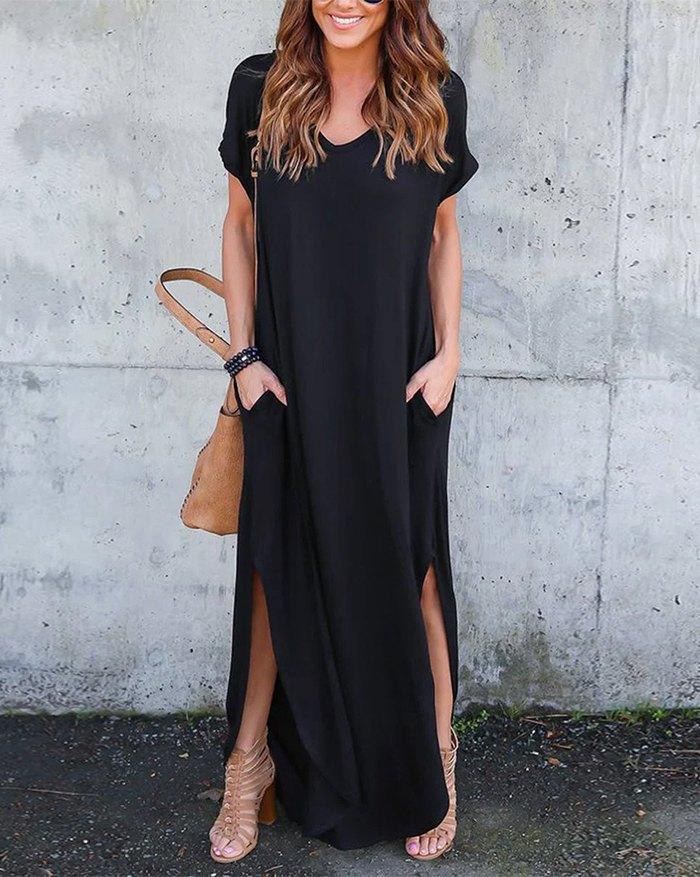 Pockets Slit V Neck A-Line Casual Maxi Dress - Black 5XL