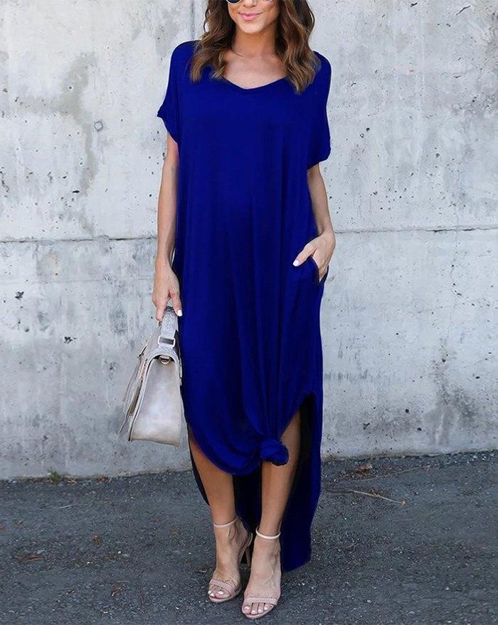 Pockets Slit V Neck A-Line Casual Maxi Dress - Blue 5XL