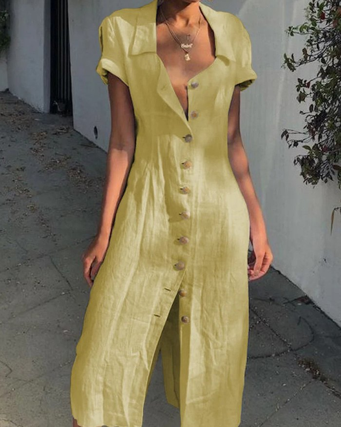 Linen Buttoned Solid Casual Shirt Dress - Yellow 3XL