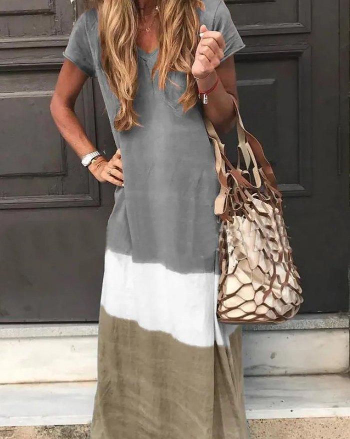 Contrast Color Short Sleeve Casual Maxi Dress - Gray 3XL
