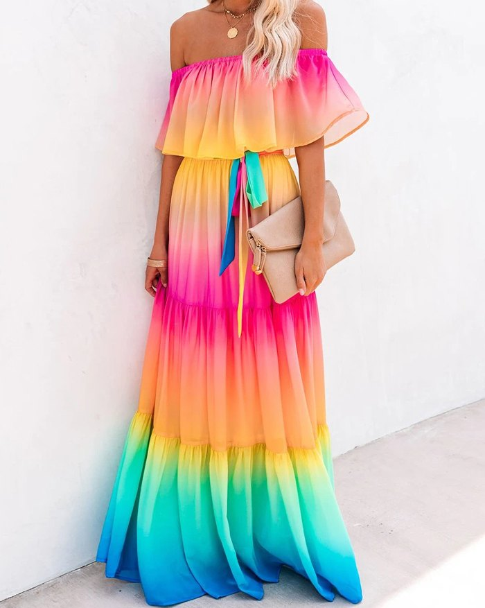 Rainbow Skies Off The Shoulder Tiered Maxi Dress - Pink 2XL