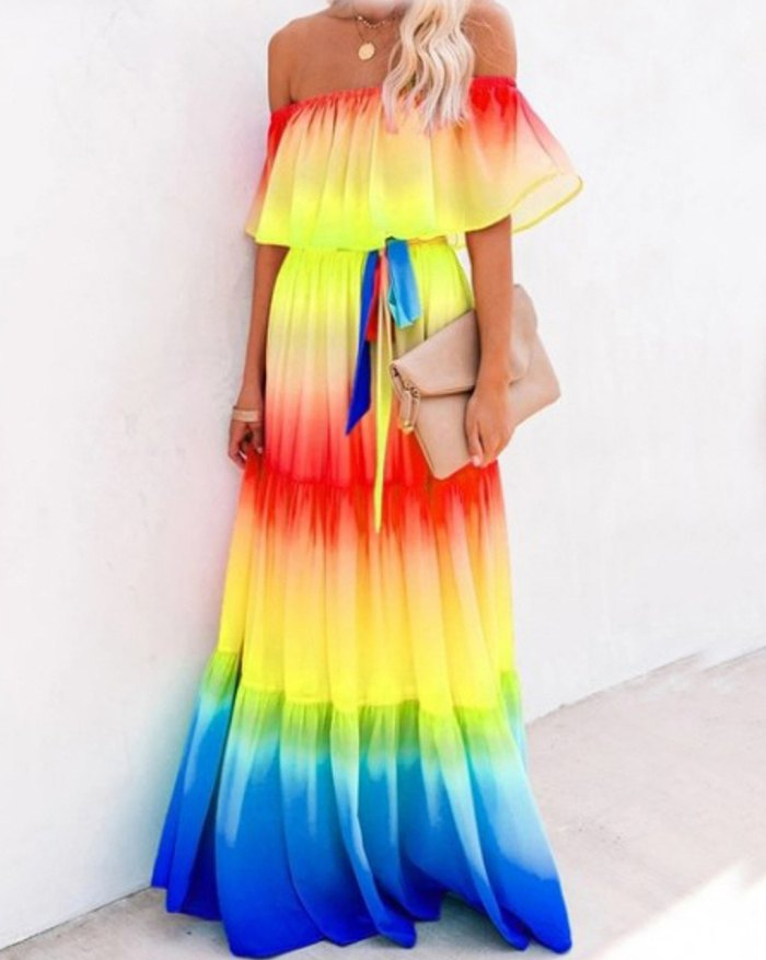 Rainbow Skies Off The Shoulder Tiered Maxi Dress - Yellow 2XL