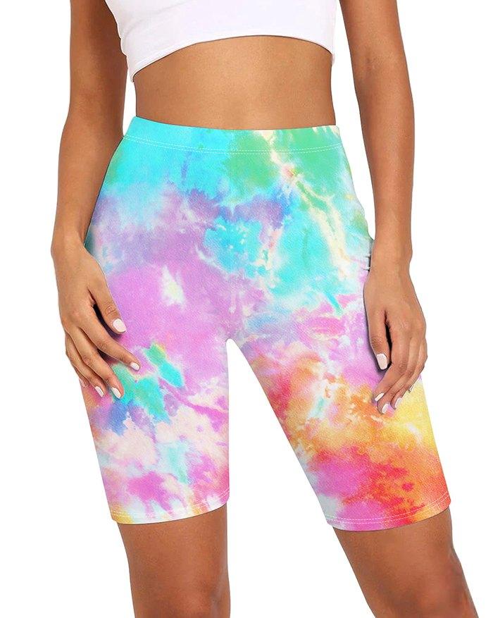 High Waist Tie-Dye Printed Slim Three-Quartered Biker Active Shorts - Mixcolor XL