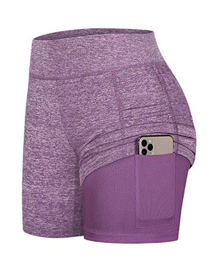 High Waist Pocket Stretchy Sports Active Shorts - Purple 2XL