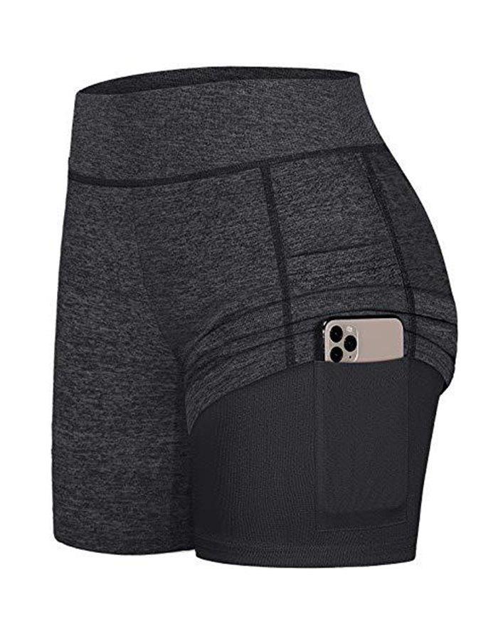 High Waist Pocket Stretchy Sports Active Shorts - Black 2XL