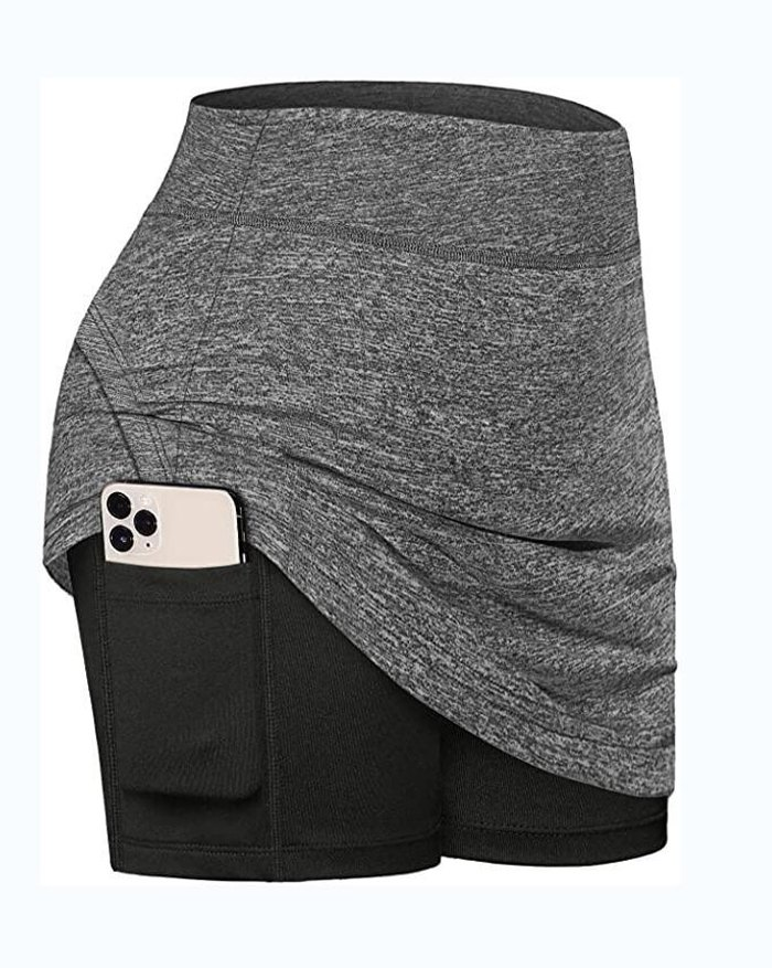 High Waist Pocket Stretchy Exercise Fitness Active Shorts - Gray 2XL
