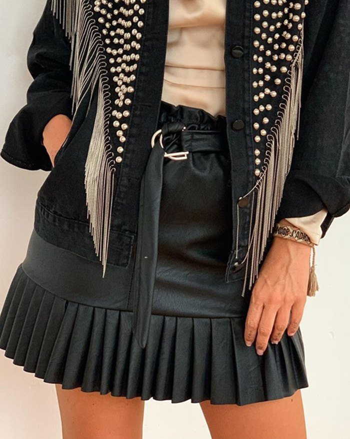 High Waist Solid Pu Leather Pleated Sashes Punk Gothic Skirt - Black XL