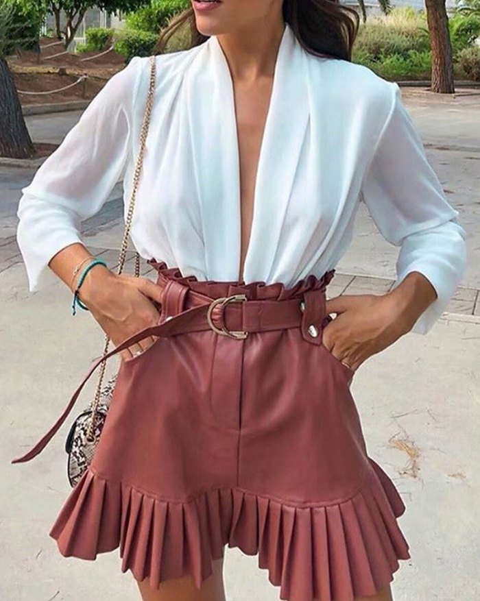 High Waist Solid Pu Leather Pleated Sashes Punk Gothic Skirt - Brown XL