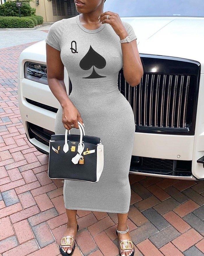 Poker Printed short sleeve Midi Dress - Gray 4XL
