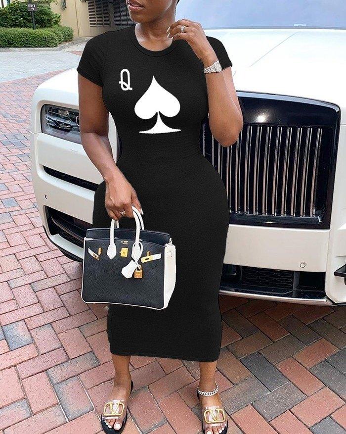 Poker Printed short sleeve Midi Dress - Black 4XL
