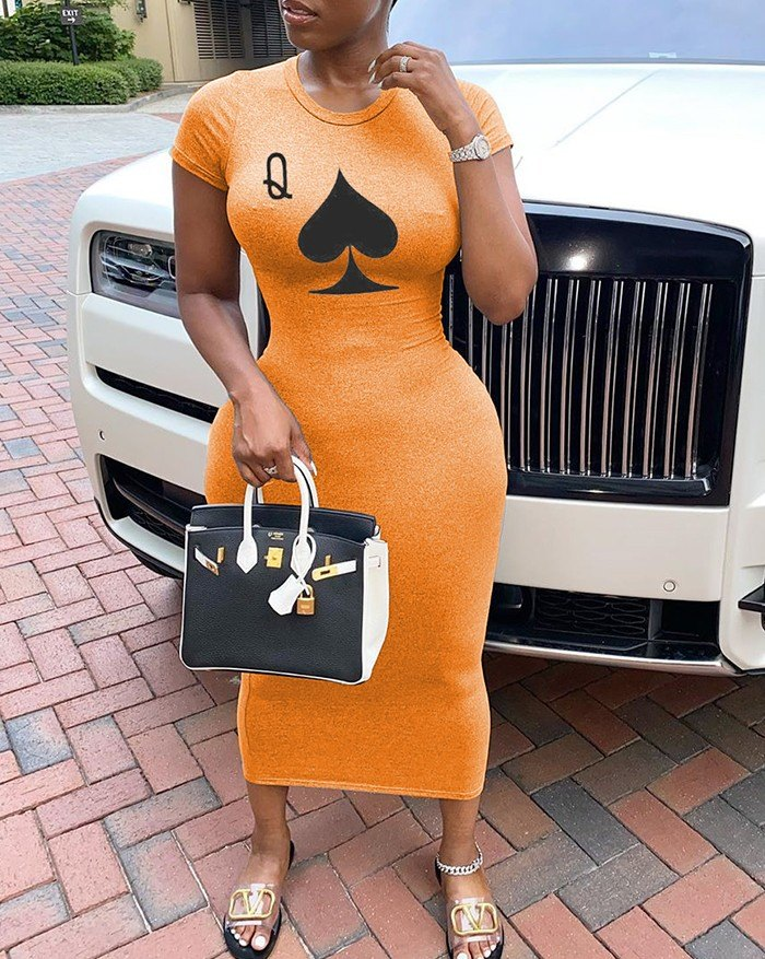Poker Printed short sleeve Midi Dress - Orange 4XL