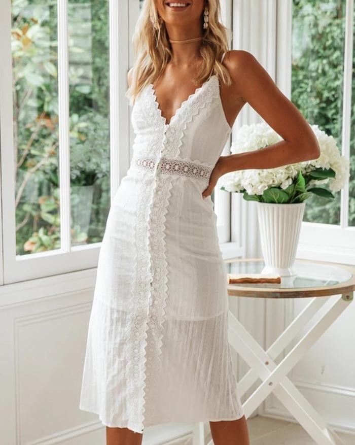 Spaghetti Strapv Neck Lace Midi Dress - White S