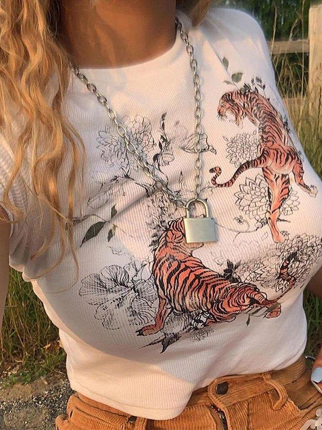 Tiger Print Short Sleeve T-Shirt - White S
