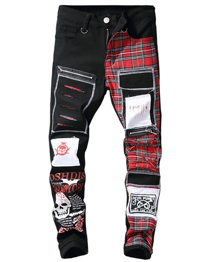 Men's Vintage Patchwork Jeans - Black M