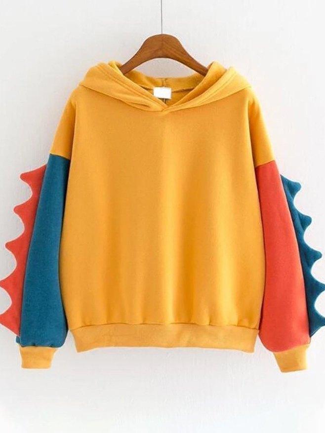 Dinosaur Color Block Long Sleeve Hoodie - Yellow M