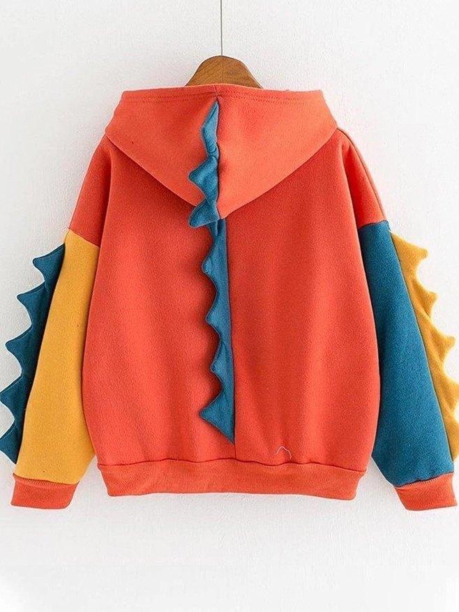 Dinosaur Color Block Long Sleeve Hoodie - Orange L