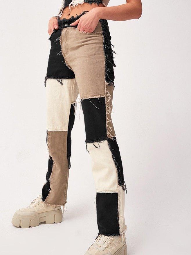 Pastel Patchwork Denim Boyfriend Jeans - Black S