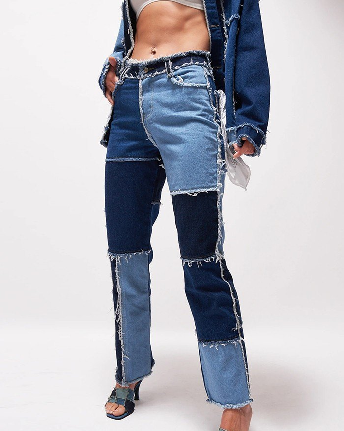 Patchwork Denim Boyfriend Jeans - Blue S