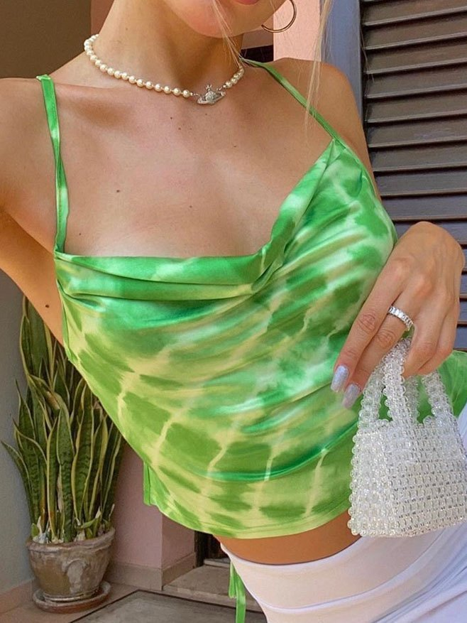Tie-Dye Bandage Backless Cami Top - Green S