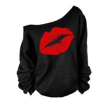 Lip Printed Off-Shoulder Long Sleeve Sweatshirt